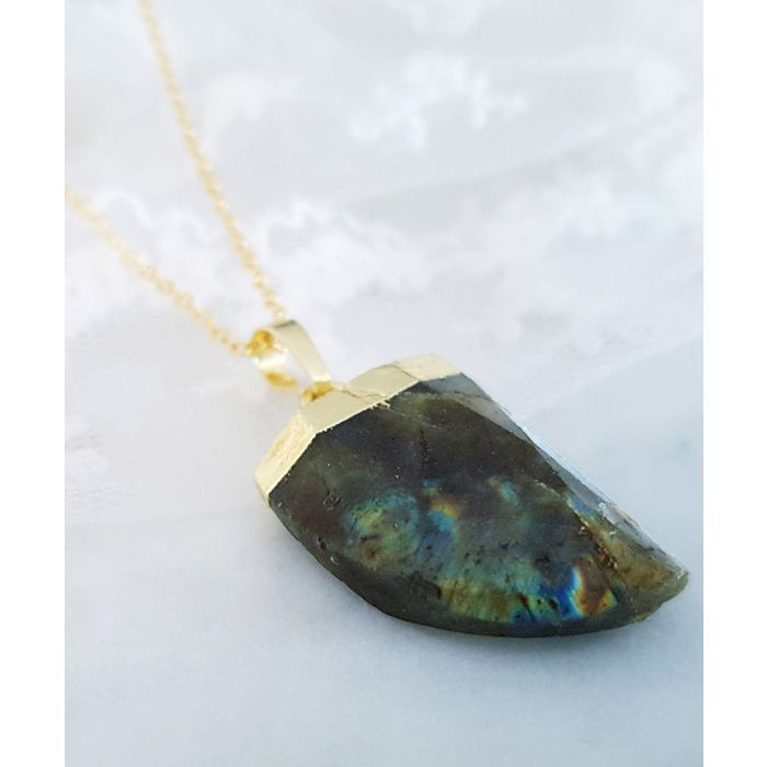 Image for 14k gold-plated and labradorite necklace
