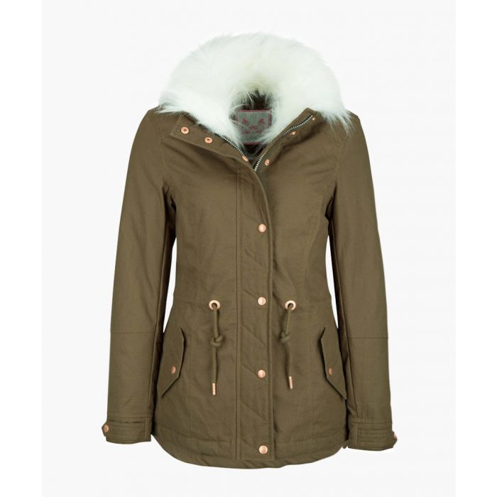 Image for Olive faux fur hooded coat