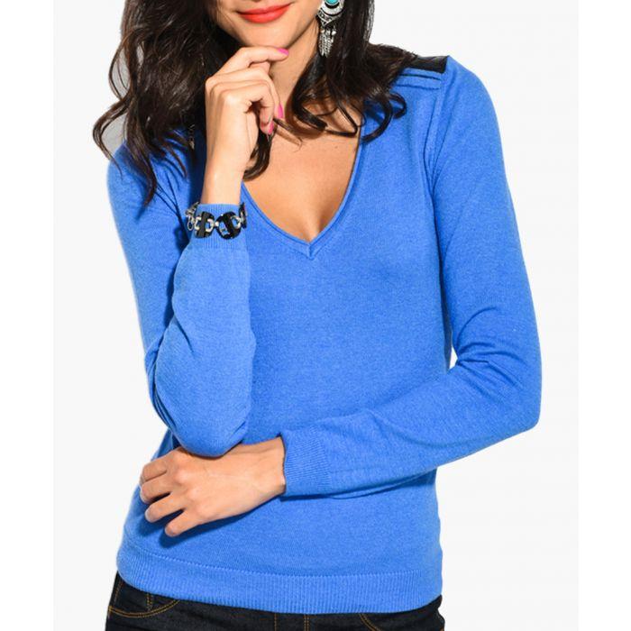 Image for Blue cashmere and silk blend jumper