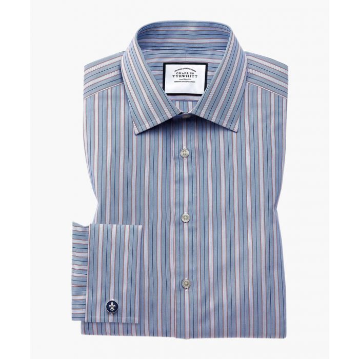Image for Multi-coloured Egyptian cotton slim fit striped shirt
