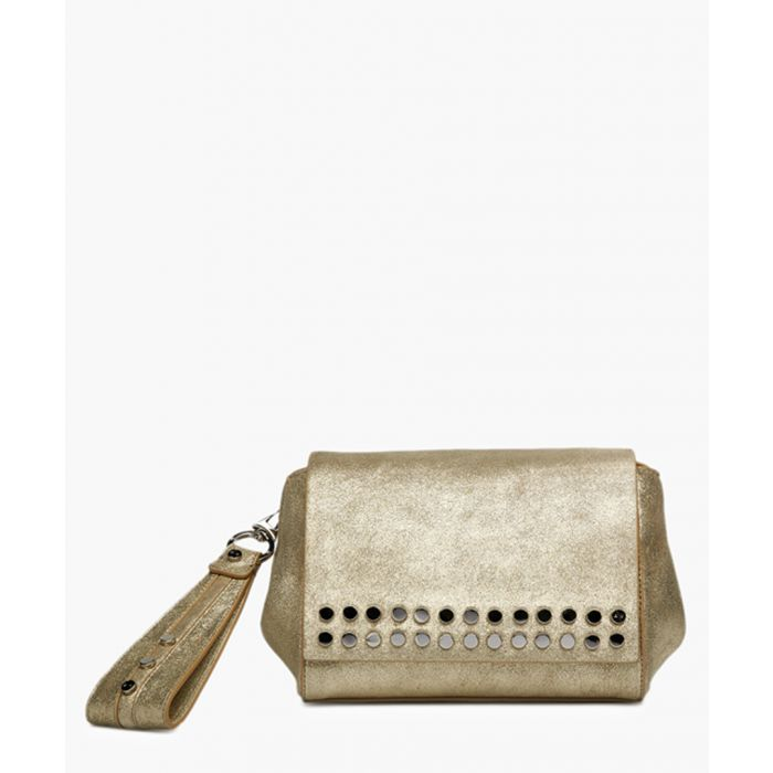 Image for Heston white leather wristlet clutch