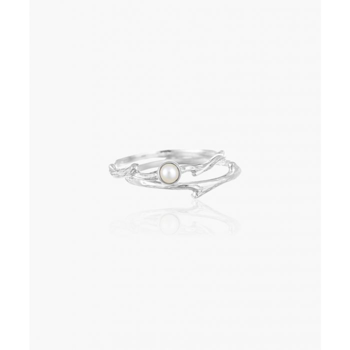 Image for 2pc pearl sterling silver stacking ring set