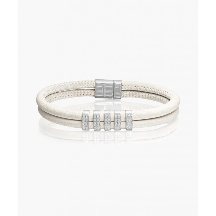 Image for Modena white leather zirconia bracelet