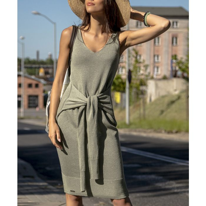 Image for Olive knitted cotton blend dress