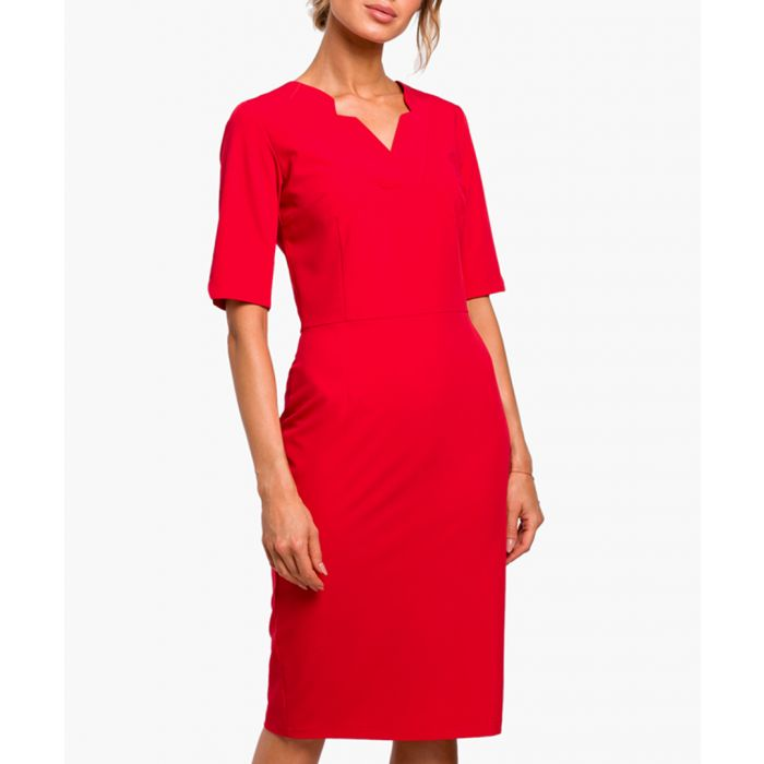 Image for Red three-quarter sleeve fitted dress
