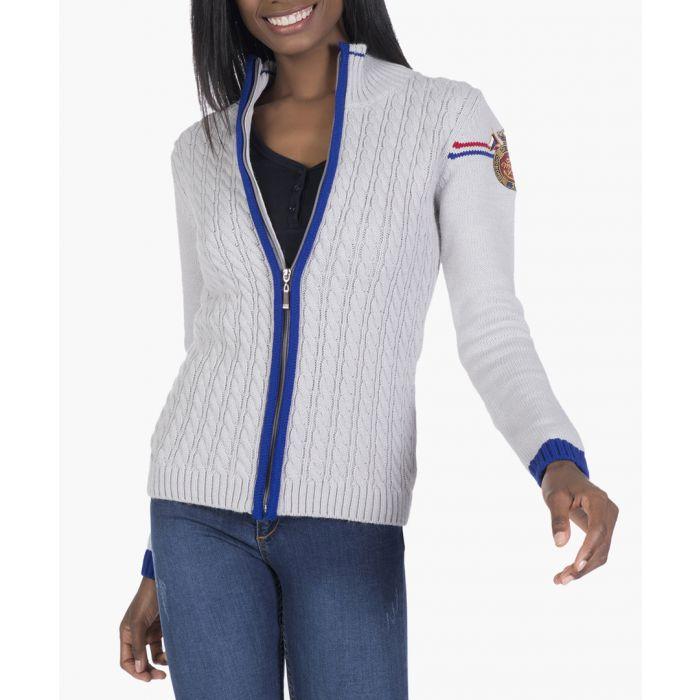 Image for Light grey wool-blend cardigan