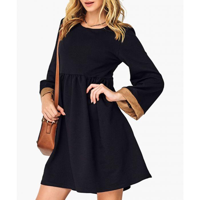 Image for Black & Camel Cotton Blend Dress