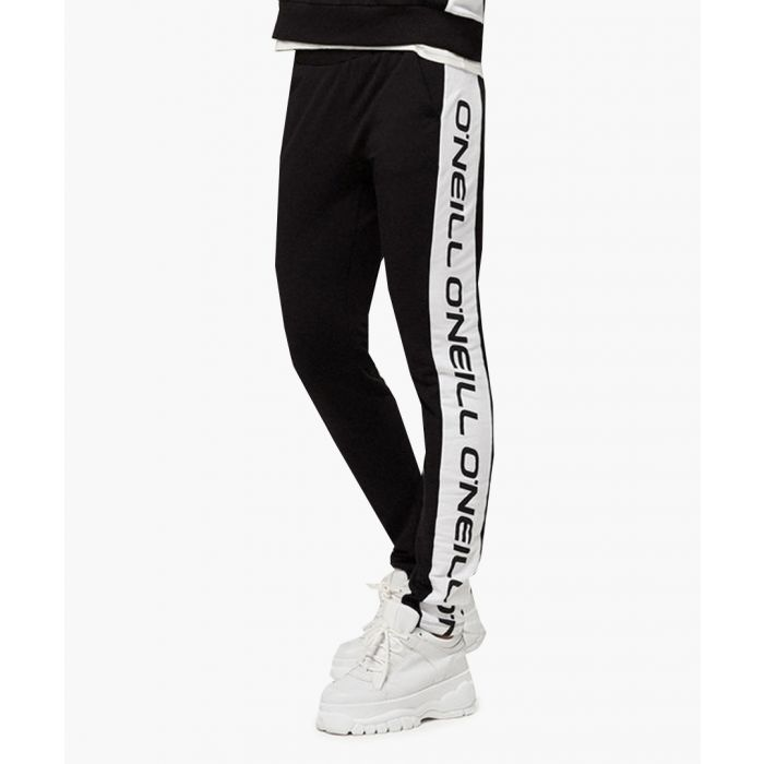 Image for Black out logo striped joggers