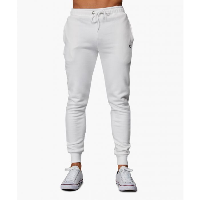 Image for White cotton blend joggers