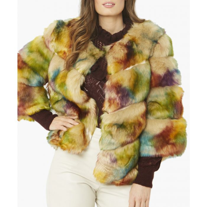 Image for Multi-coloured faux fur jacket