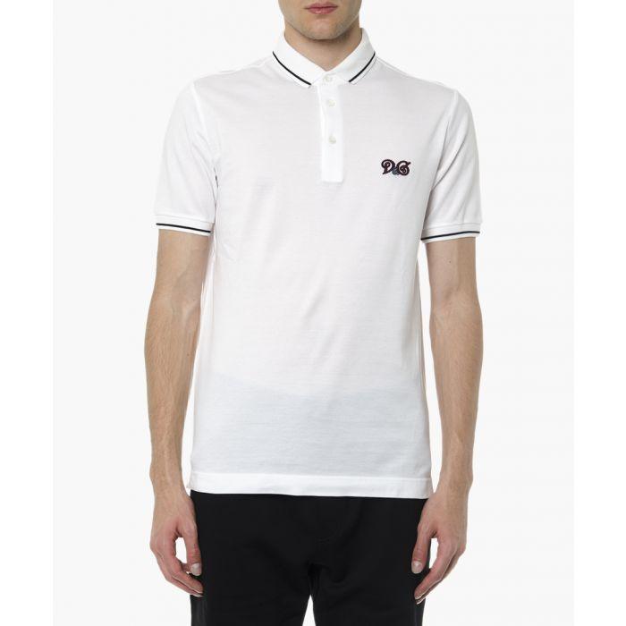 Image for White cotton logo polo shirt