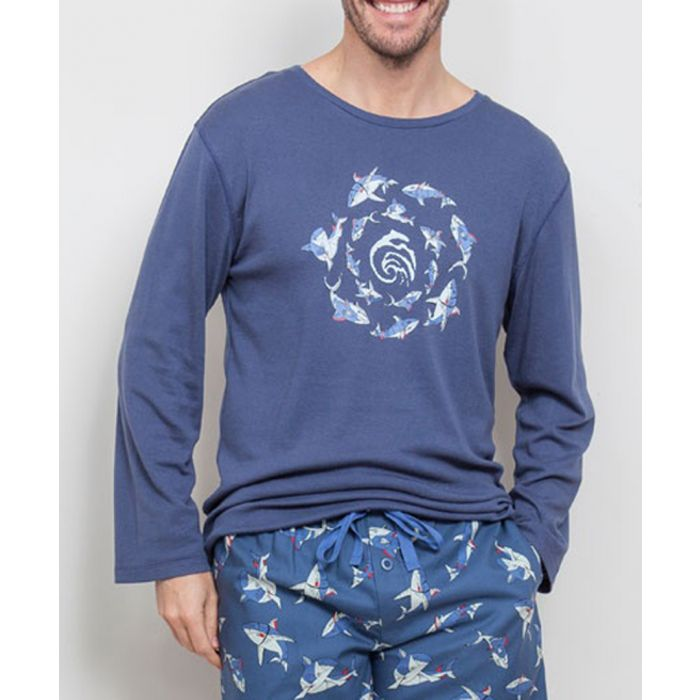 Image for Finn blue ocean print long sleeved top