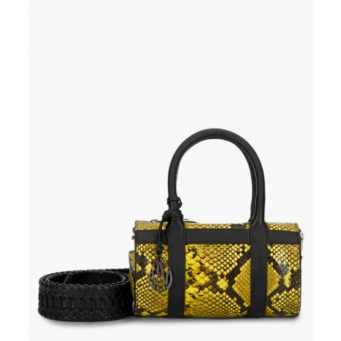 Image for Mini Hendrix yellow python-effect leather crossbody