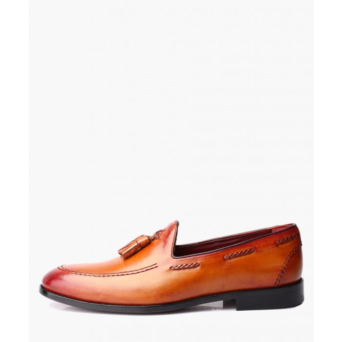 Image for Tan leather tassel front loafers