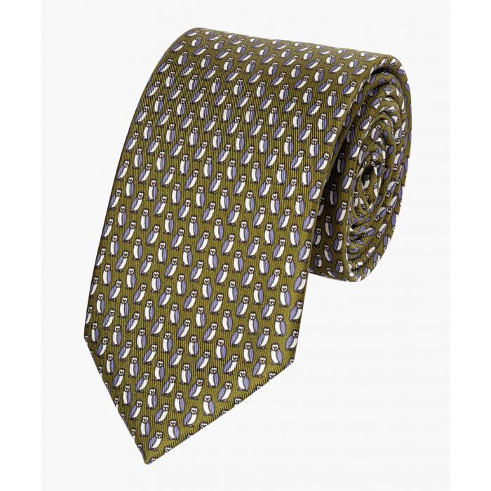 Image for Olive pure silk owl print classic tie