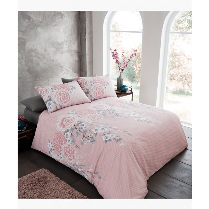 Image for Oriental blossom blush cotton blend king duvet set
