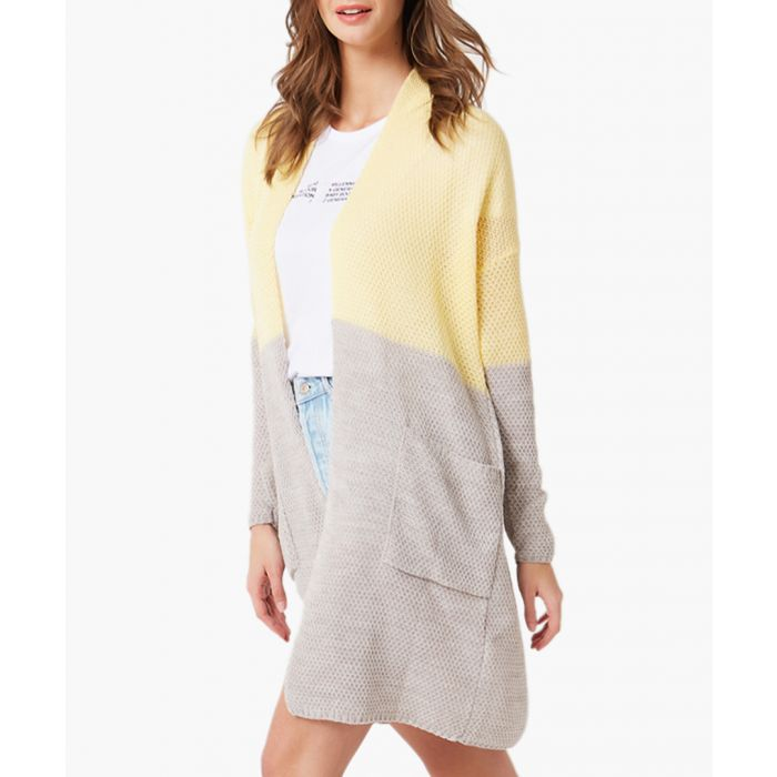 Image for Yellow and beige loose cut cardigan