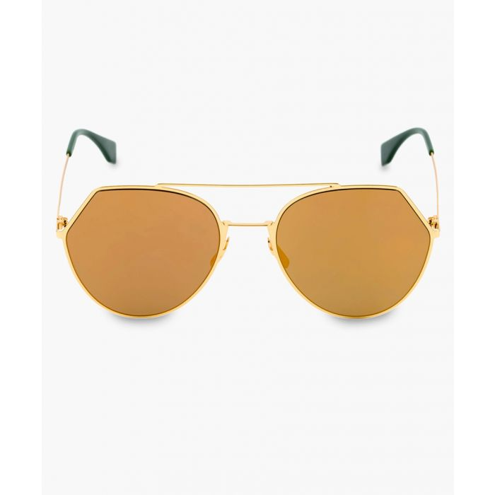 Image for Yellow and brown gold-tone sunglasses