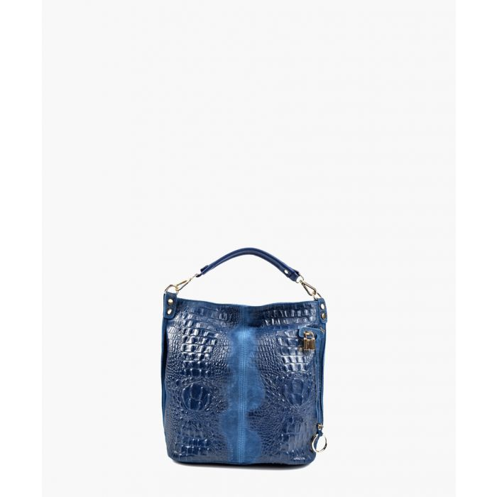 Image for Blue leather top handle bag