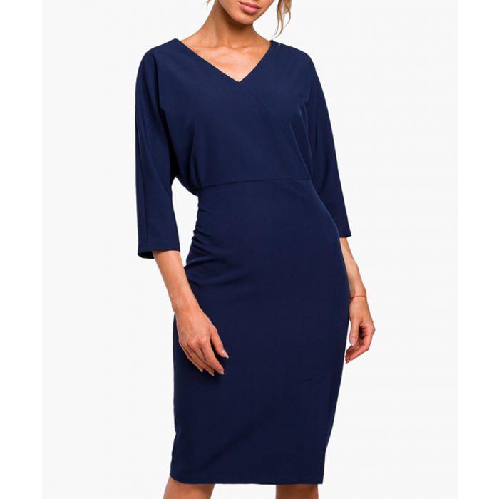 Image for Navy blue V-neck fitted midi dress