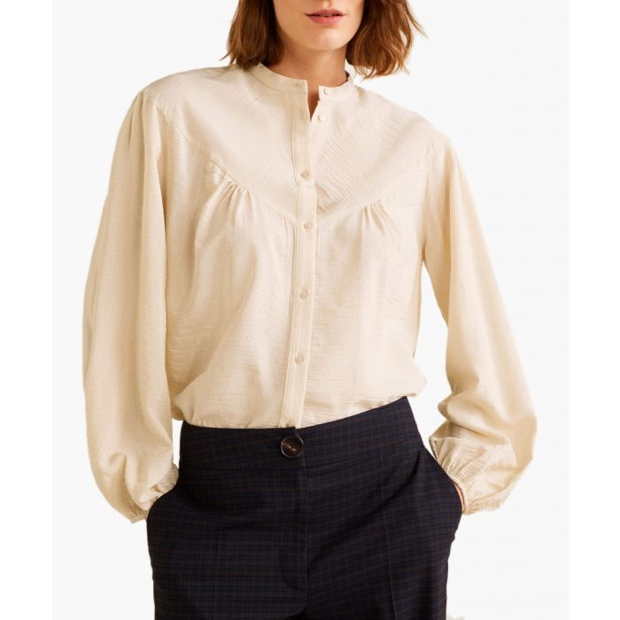Image for Off-white flowy textured blouse