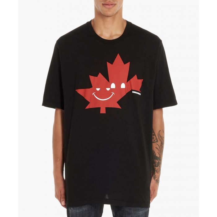 Image for Black cotton graphic print T-shirt