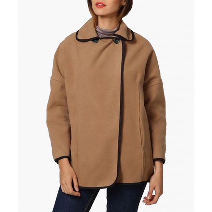 Image for Gina camel trimmed double breasted boxy jacket