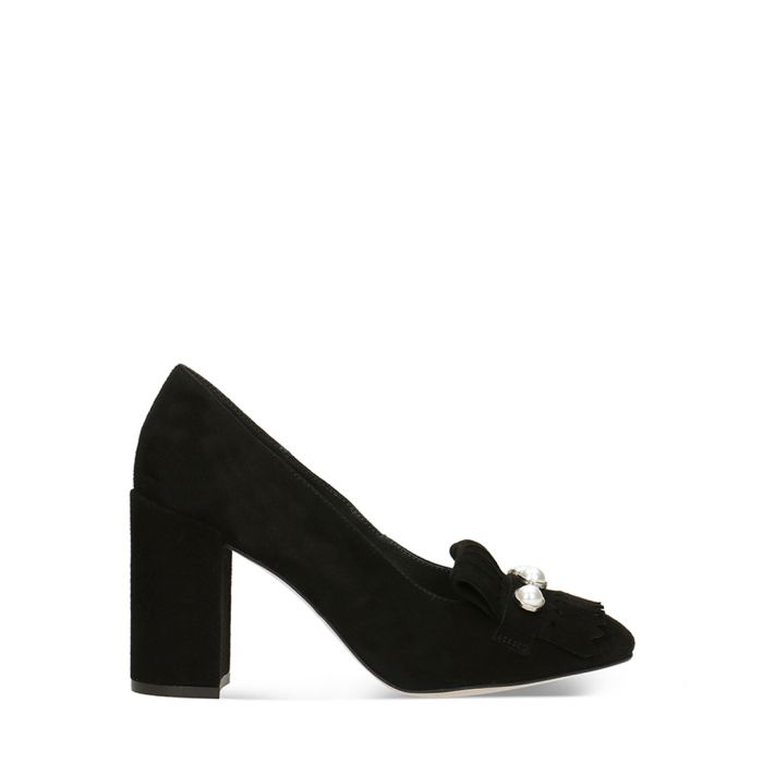 Image for Black suede embellished block heels