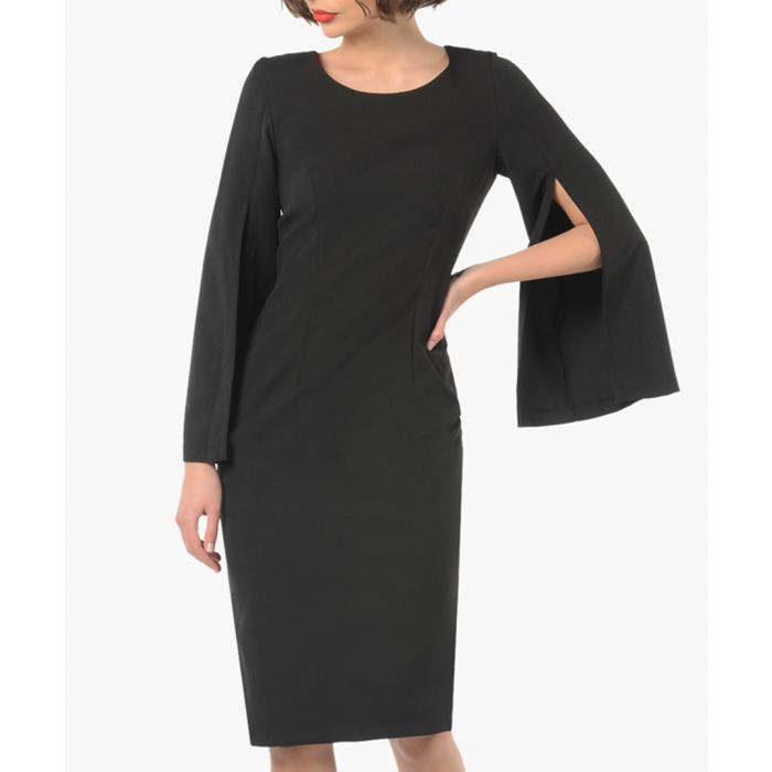 Image for Black open cape sleeve dress