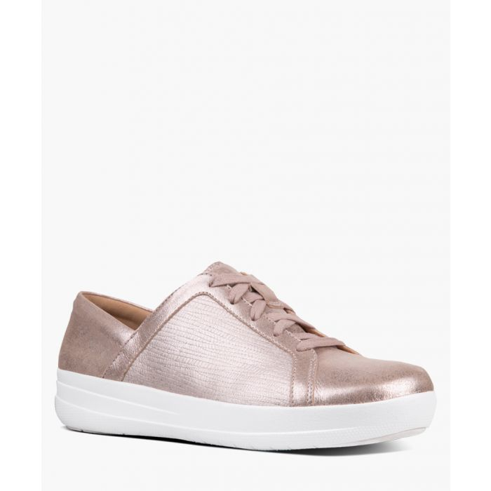Image for Taupe textured metallic trainers
