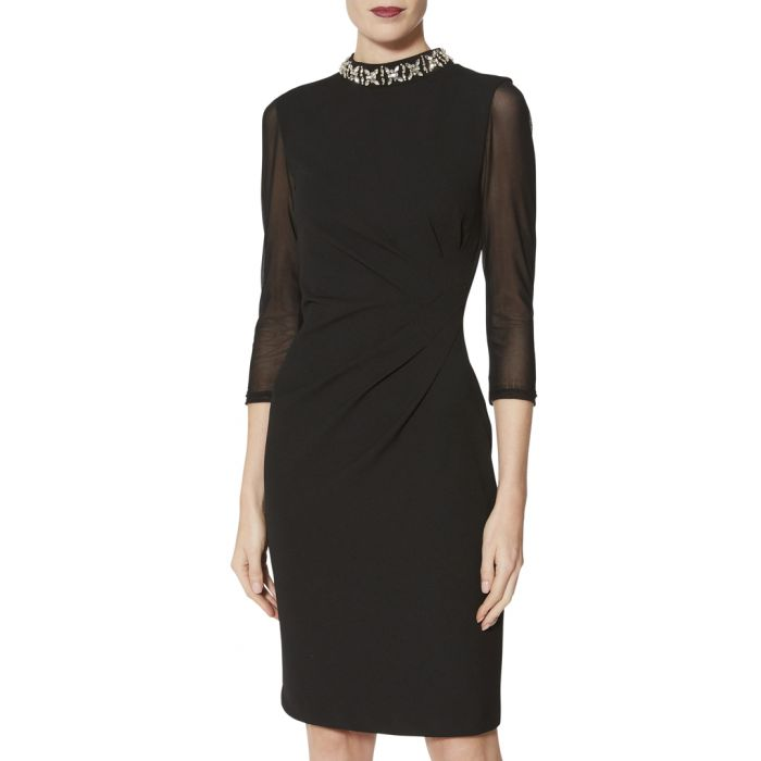 Image for Shauna black beaded collar dress