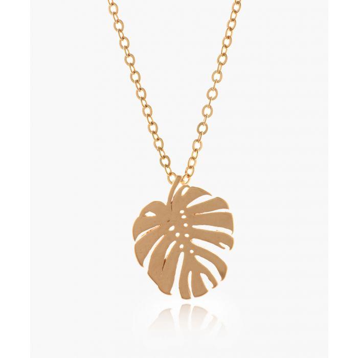 Image for Monstera Leaf 14k rose gold-plated necklace