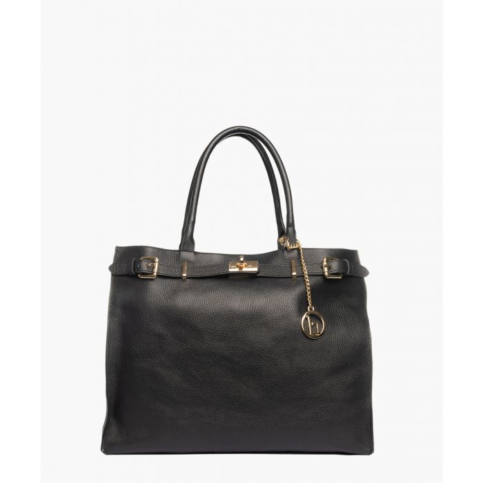 Image for Garlate black leather shopper
