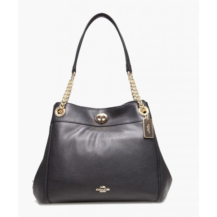Image for Edie Turnlock black leather shoulder bag