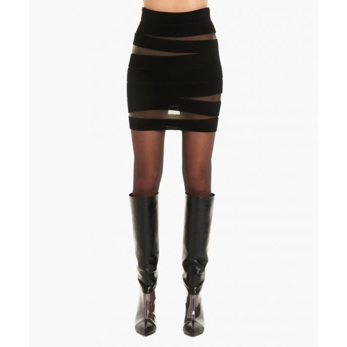 Image for Black and sheer cut-out skirt
