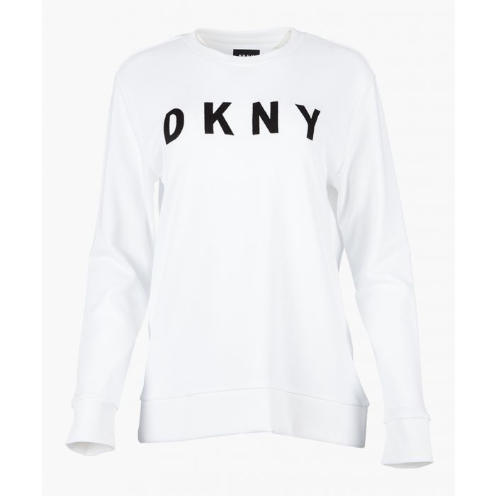 Image for White logo long sleeve top