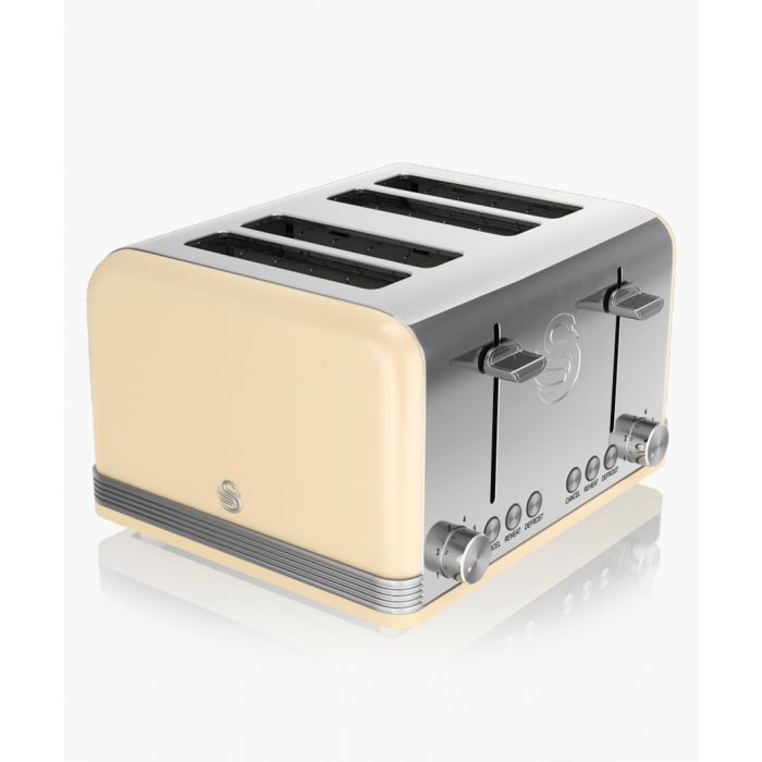 Image for Cream retro 4-slice toaster