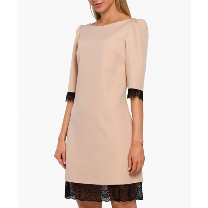 Image for Beige lace trim sheath dress