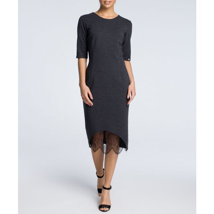 Image for Graphite cotton blend lace panel dress
