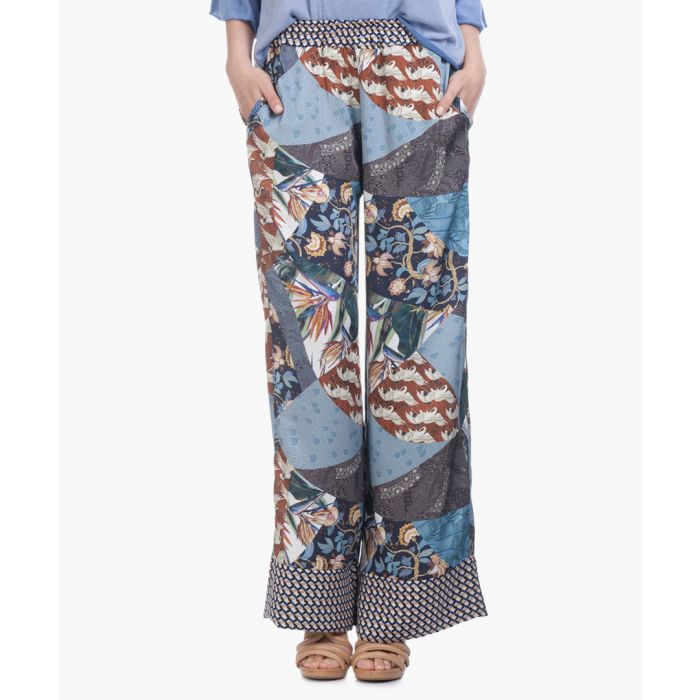 Image for Blue print wide leg trousers