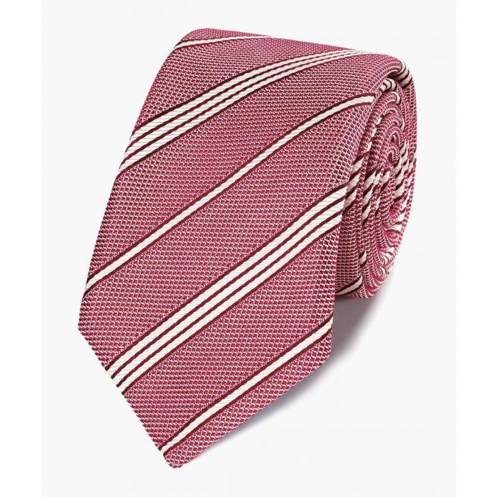 Image for Red silk plain grenadine Italian luxury tie