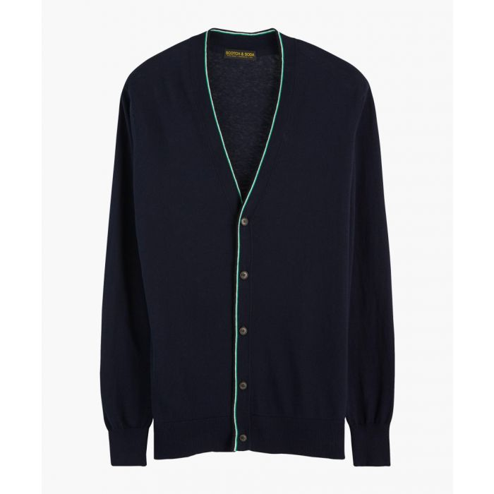 Image for Navy blue cotton-wool blend classic cardigan
