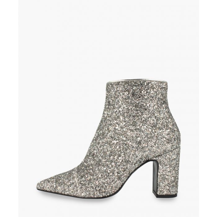 Image for Silver-tone leather ankle boots