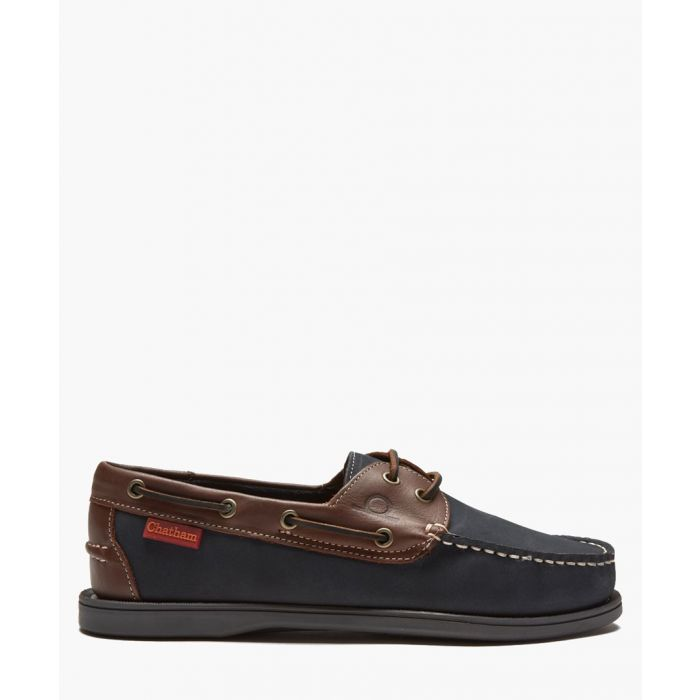Image for Commodore navy and brown leather deck shoes