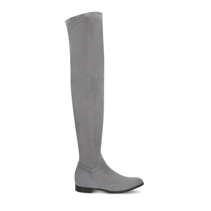 Image for Dark grey suede over-the-knee boots