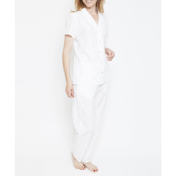 Image for 2pc Pearl white embroidered pyjama set