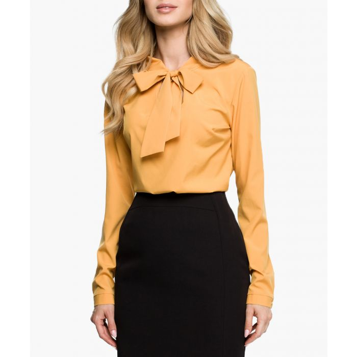 Image for Yellow ochre pussybow blouse