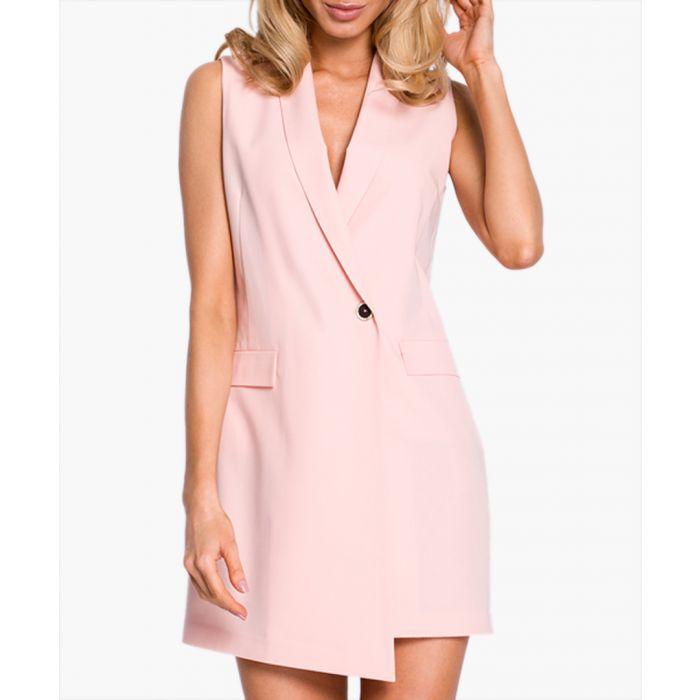Image for Powder pink tuxedo mini dress