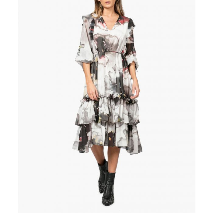 Image for Thrill love print ruffle midi dress