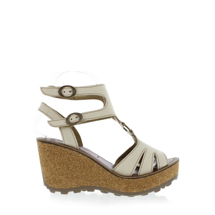 Image for Off white leather wedges
